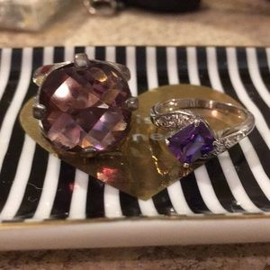 Amethyst ring pair.
